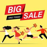 cartoon flat characters customers on big sales, shopping concept. vector