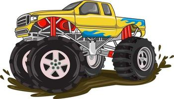 fire monster truck on the mud vector
