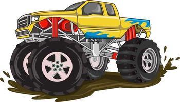camión monstruo de fuego en el vector de barro