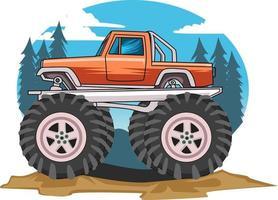 monster truck in view background vector