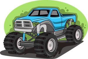 blue big monster truck off-road vehicle vector