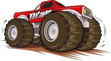 red monster truck vector