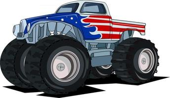 American classic monster truck vector