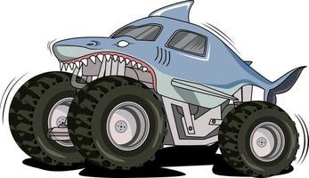 shark monster truck vector