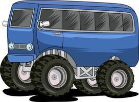 classic bus monster car illustration vector