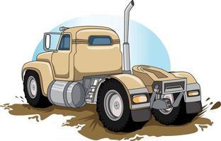 old semi big truck hand drawing vector