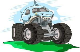 blue shark monster truck vector