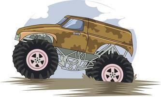 monster big truck in mud vector