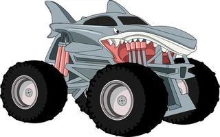 shark monster truck illustration vector