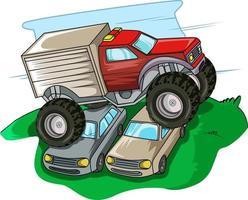 monster truck jump cars vector