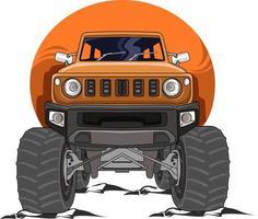 the orange off-road monster truck illustration vector