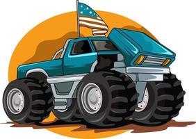 american monster truck illustration vector