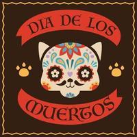 festival tradicional mexicano día de la ilustración del cartel muerto. cara de gato con patrones de colores. vector