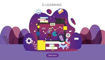 E-learning concept with computer, book and tiny people character in study process. E-book or online education. template for web landing page, banner, presentation, social media and print material vector