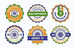 India Independence Day Badges vector