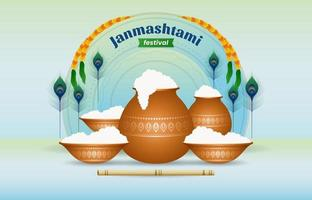Janmashtami Festival Background vector