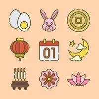 Set of Icons of Mid-Autumn Festival vector