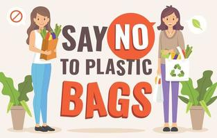 Say No to Plastic Bag Campaign vector