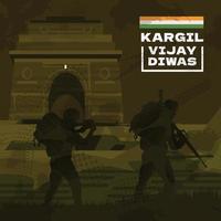 Soldier In Action Kargil Vijay Diwas vector