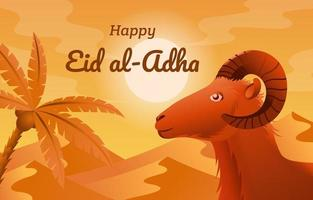 Eid Al Adha Day with Goat and Desert Background vector