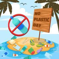 No Plastic Day Campaign vector