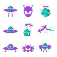 UFO Icon Set vector