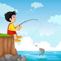 Cute Kid Cartoon Fishing vector