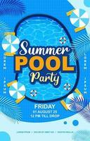 cartel de fiesta en la piscina de verano azul vector