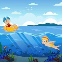 Happy Kids Swimming and Diving in the Ocean vector