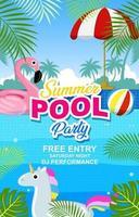 cartel de fiesta en la piscina de verano vector