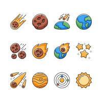 conjunto de iconos de meteorito espacial vector