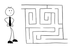 Stickman Businessman Character Looking Into the Maze and Thinking Vector Cartoon Illustration