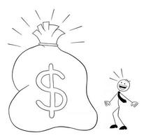 Stickman Businessman Character See the Huge Sack With Dollars and Surprised Vector Cartoon Illustration
