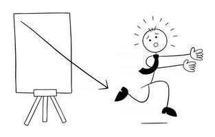Arrow of the Sales Chart is Out and Stickman Businessman Character is Running Away Vector Cartoon Illustration