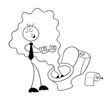 Stickman Businessman Character In Front of the Toilet and It Smells Really Bad Vector Cartoon Illustration