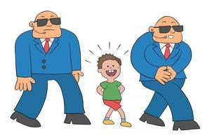 Cartoon Little Boy Walking Around With 2 Scary Guards Vector Illustration
