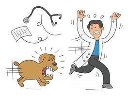 Cartoon Dog is Very Angry and is Chasing Vet Vector Illustration