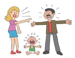 Cartoon Parents Fighting and Baby Crying Vector Illustration