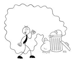 Stickman Businessman Character Disgusted By the Smell of Garbage Vector Cartoon Illustration