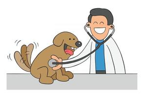 Cartoon Veterinarian Examining Dog With Stethoscope Vector Illustration
