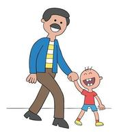 Cartoon Father and Son Holding Hands and Walking and Very Happy Vector Illustration