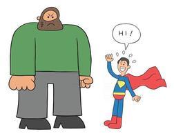 El hombre criminal de dibujos animados es demasiado grande y el superhéroe le tiene miedo ilustración vectorial vector