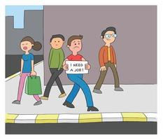 Cartoon Man is Unemployed and Walking on the Street Holding a Sign That Says I Need a Job Vector Illustration