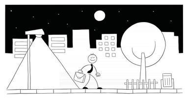 Stickman Businessman Character Walking On the Street at Night Vector Cartoon Illustration