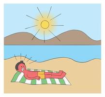 Hombre de dibujos animados tomando el sol en la playa durante horas y cuando se despierta todo su cuerpo está quemado ilustración vectorial roja vector