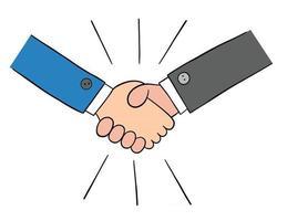 Cartoon Two Businessmen Shaking Hands Vector Illustration