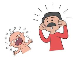 Cartoon Baby is Crying and His Father does not Know What to Do Vector Illustration