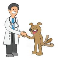 Cartoon Vet and Dog Get Along and Shake Hands Vector Illustration