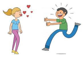mujer de dibujos animados sopla besos y el hombre corre hacia su ilustración vectorial muy emocionada vector