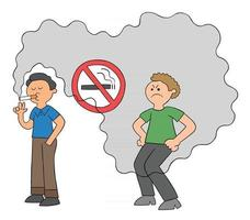 Cartoon Man Smokes In No Smoking Place and Man Behind is Bothered By Cigarette Smoke Vector Illustration